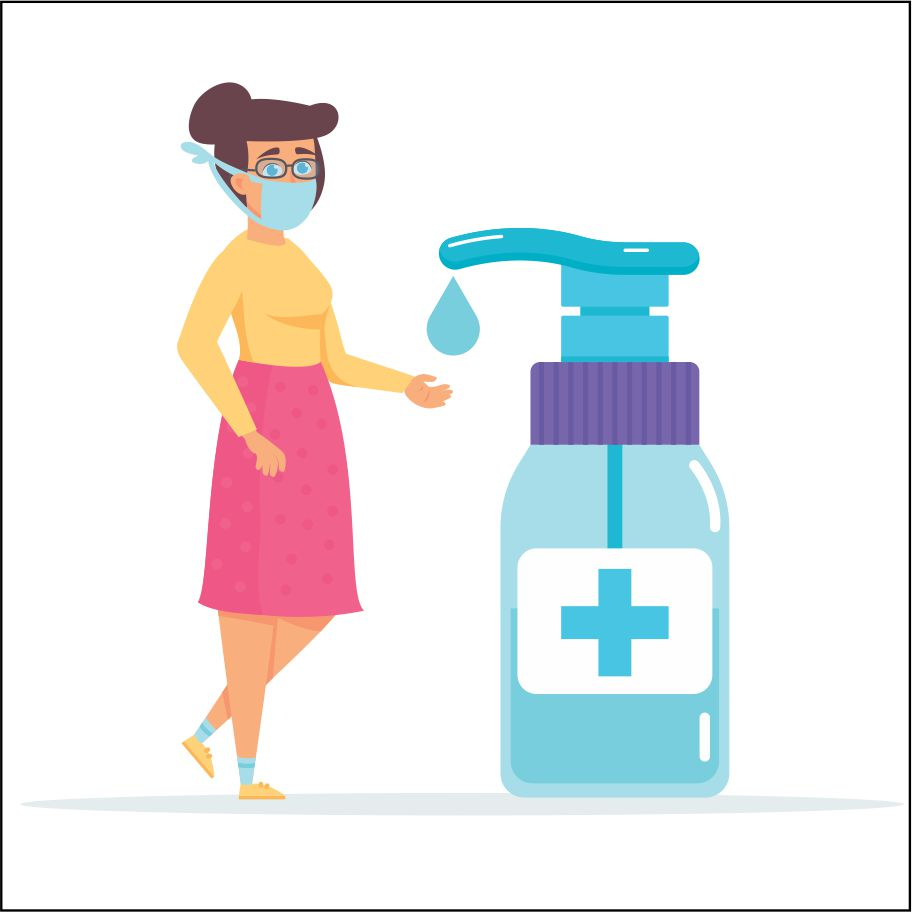 A woman wearing glasses and a medical face mask sanitizing her hands
